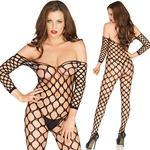 Cargo Net Off The Shoulder Bodystocking O/S Black