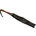 Rouge Leather Flogger w/Wooden Handle Black